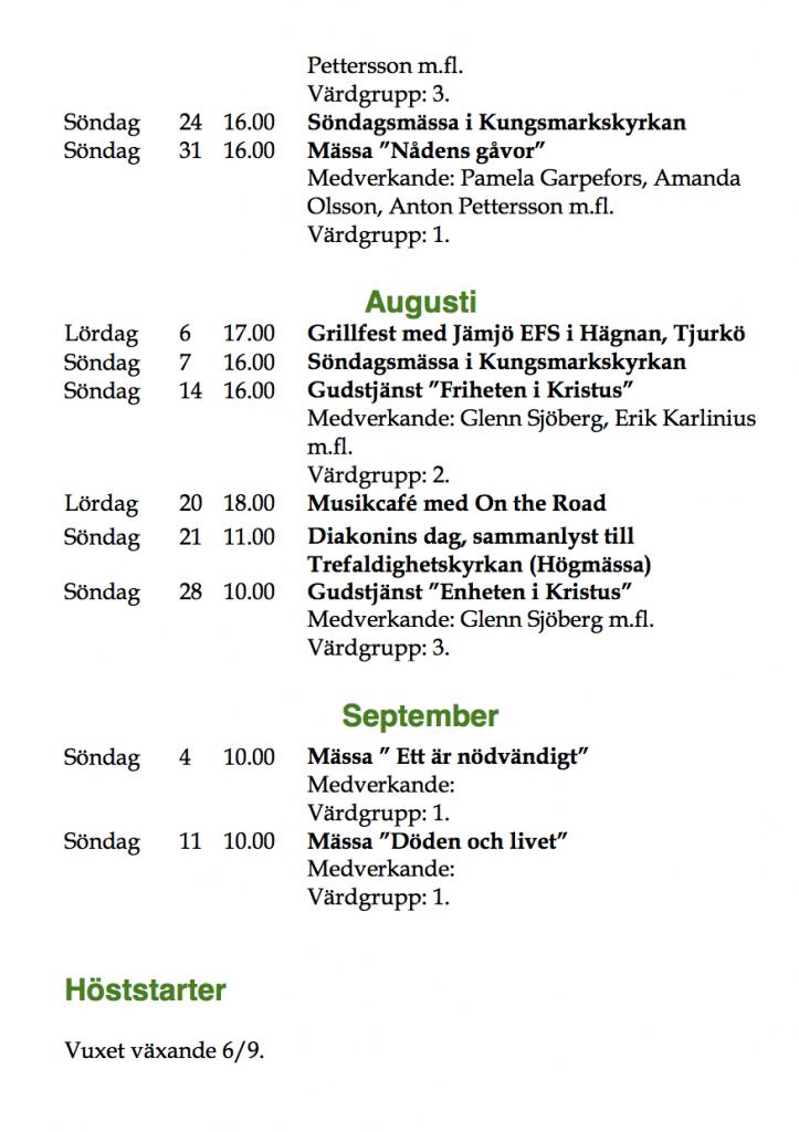 Program sommaren 2016 juli-augusti