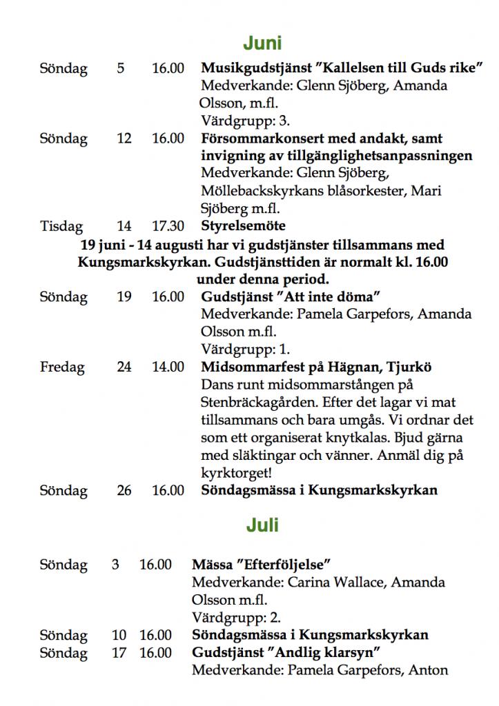 Program sommaren 2016 juni-juli